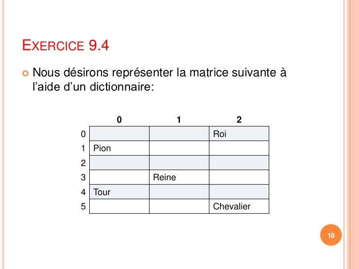 Exercice 9.4<br />Nous désirons représenter la matrice suivante à l'aide d'un dictionnaire:<br />18<br />