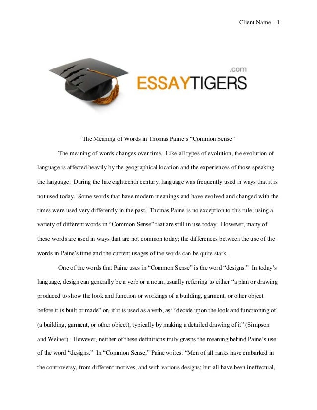 the meaning of words in thomas paine s common sense essay sample client 1