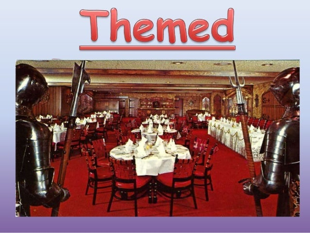  Theme restaurants are restaurantsin which the concept of the restauranttakes priority over everything else.The restaura...