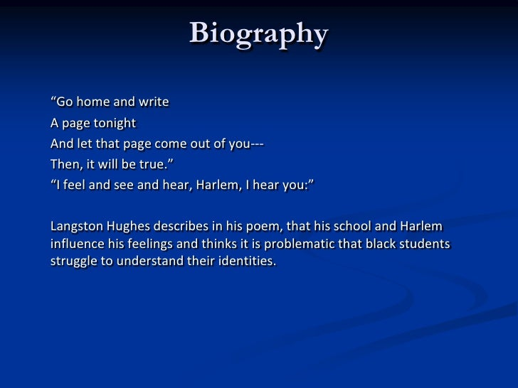 theme for english b a The author's comments: this is may take on the langston hughes poem theme for english b the instructor said, go home and write a page tonight.