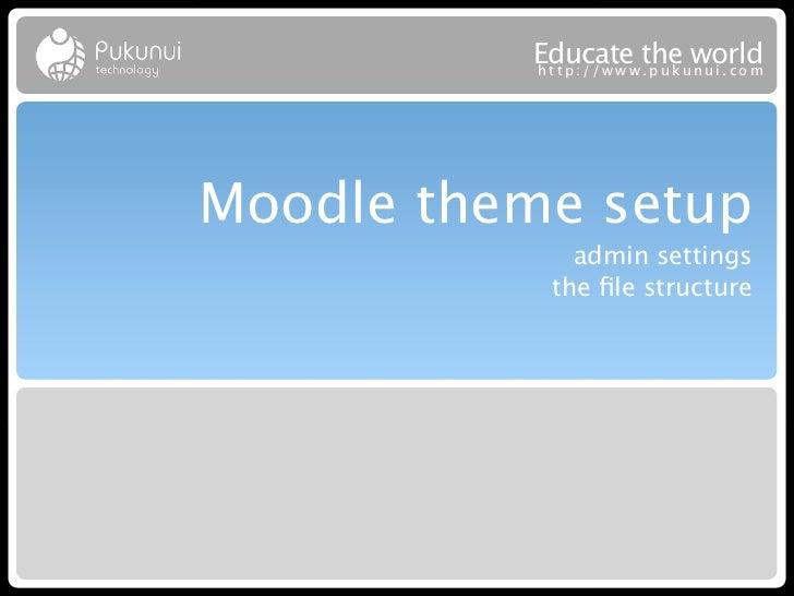 Educatew theuworld          http://ww .puk nui.comMoodle theme setup             admin settings           the file structure