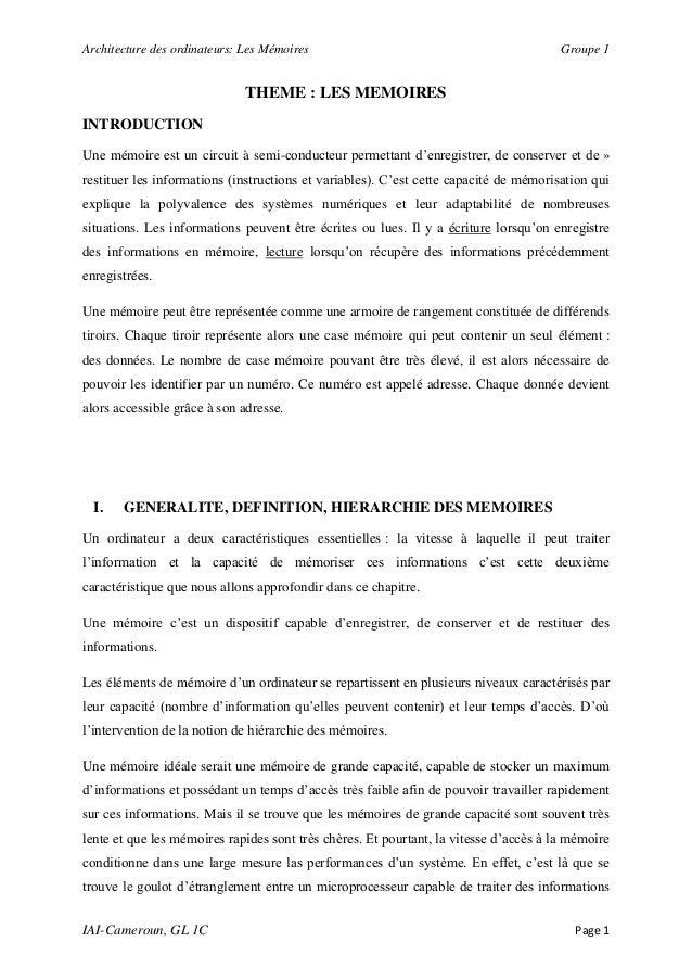 Architecture des ordinateurs: Les Mémoires                                             Groupe 1                           ...