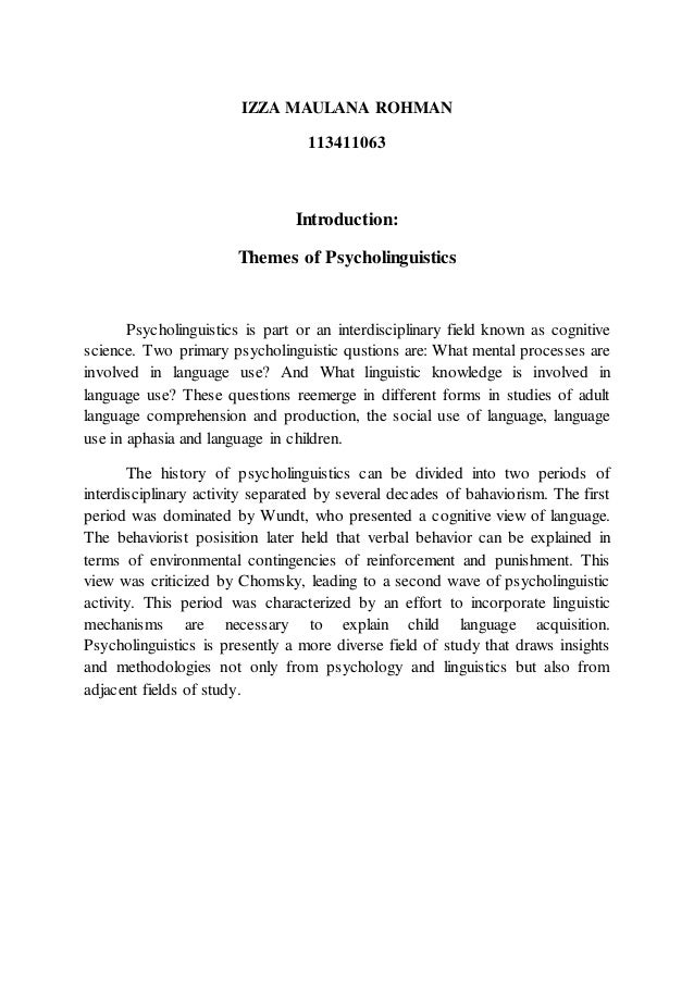 Themes of psycholinguistics