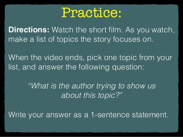 how to write a theme sentence