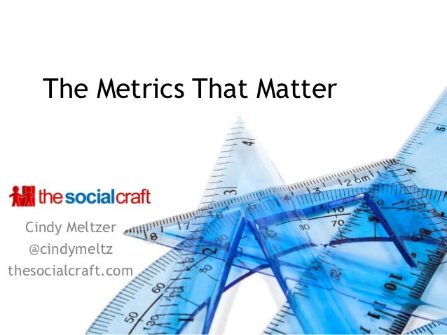 The Metrics That Matter  Cindy Meltzer   @cindymeltzthesocialcraft.com