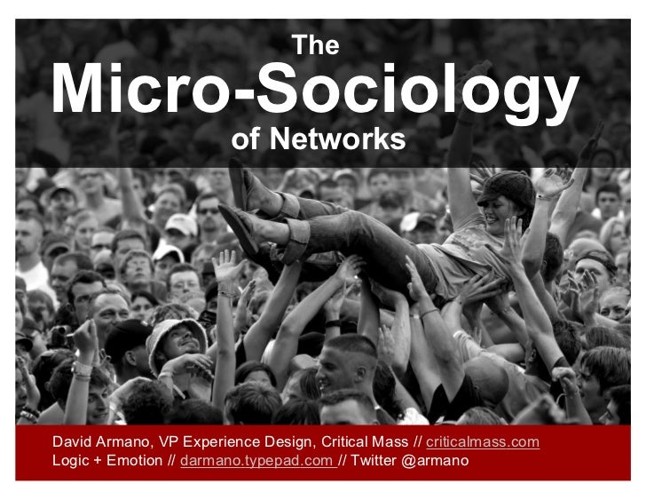 TheMicro-Sociology                         of NetworksDavid Armano, VP Experience Design, Critical Mass // criticalmass.co...