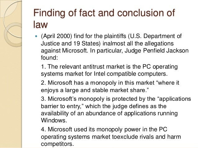 an introduction to the microsoft anti trust case The antitrust regulators argued that microsoft had gone beyond profiting from its software innovations and its dominant position in the software market for operating systems, and had tried to use its market power in operating systems software to take over other parts of the software industry.