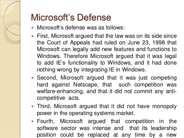 an introduction to the anti trust case against microsoft Enforcement suit, doj filed a major antitrust suit against microsoft in this action ( d  however, because vhs (i) introduced earlier a longer tape (ii) used wide.