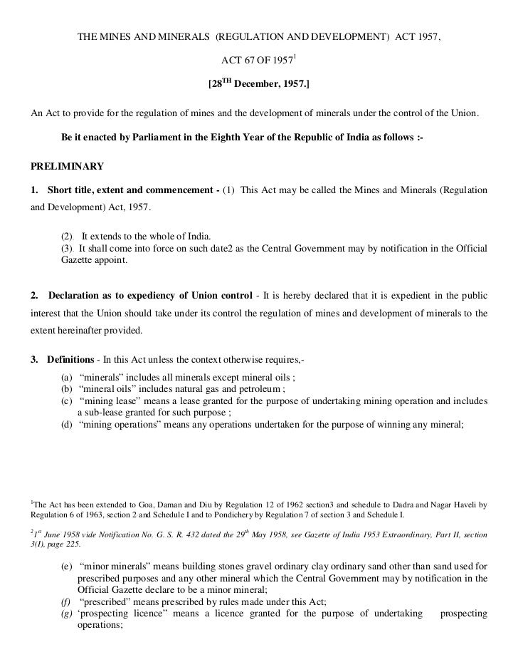 THE MINES AND MINERALS (REGULATION AND DEVELOPMENT) ACT 1957,                                                      ACT 67 ...