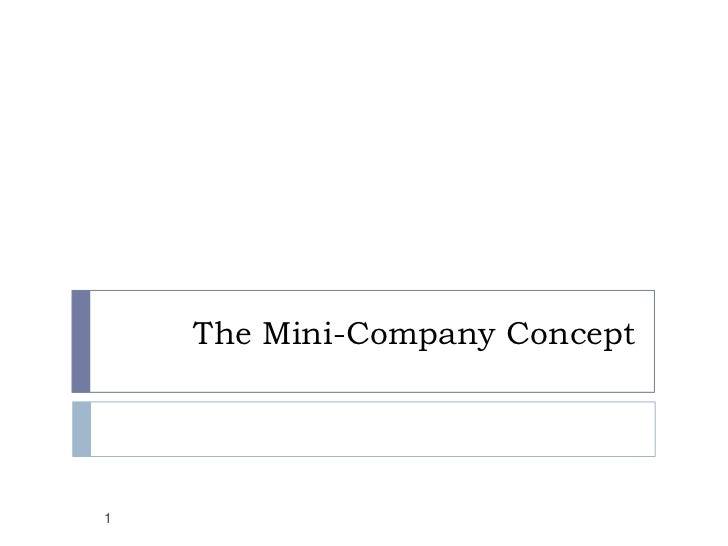 The Mini-Company Concept<br />1<br />
