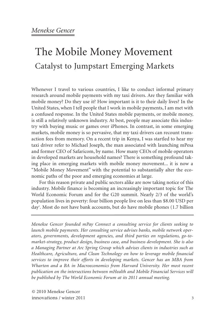Menekse Gencer The Mobile Money Movement Catalyst to Jumpstart Emerging MarketsWhenever I travel to various countries, I l...