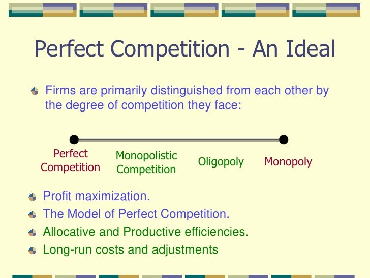 perfect competition market model What is the difference between monopoly and perfect competition perfect competition is the market in which there is a large number of buyers and sellers the goods sold in this market are identical.