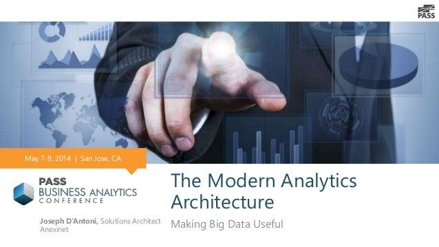 The Modern Analytics Architecture Making Big Data UsefulJoseph D'Antoni, Solutions Architect Anexinet May 7-9, 2014   San ...