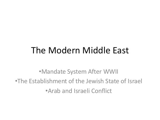 The Modern Middle East•Mandate System After WWII•The Establishment of the Jewish State of Israel•Arab and Israeli Conflict