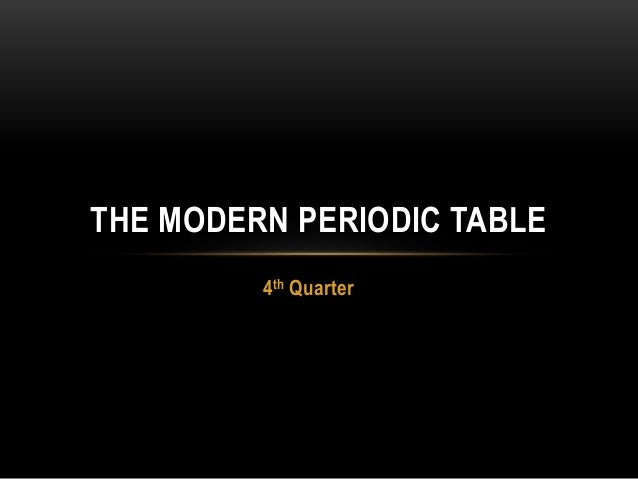 4th Quarter THE MODERN PERIODIC TABLE