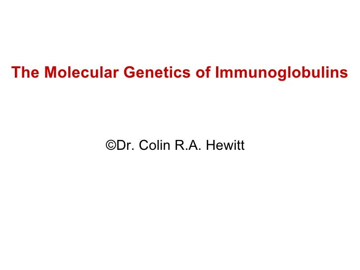 The Molecular Genetics of Immunoglobulins © Dr. Colin R.A. Hewitt