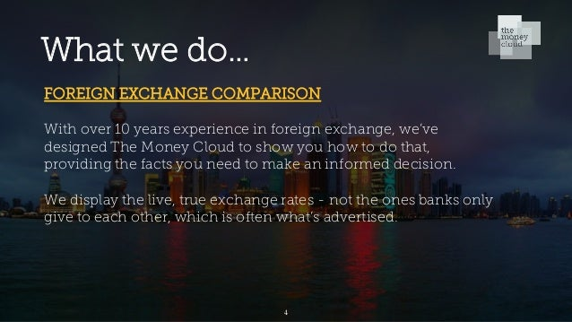 What we do… FOREIGN EXCHANGE COMPARISON With over 10 years experience in foreign exchange, we've designed The Money Cloud ...