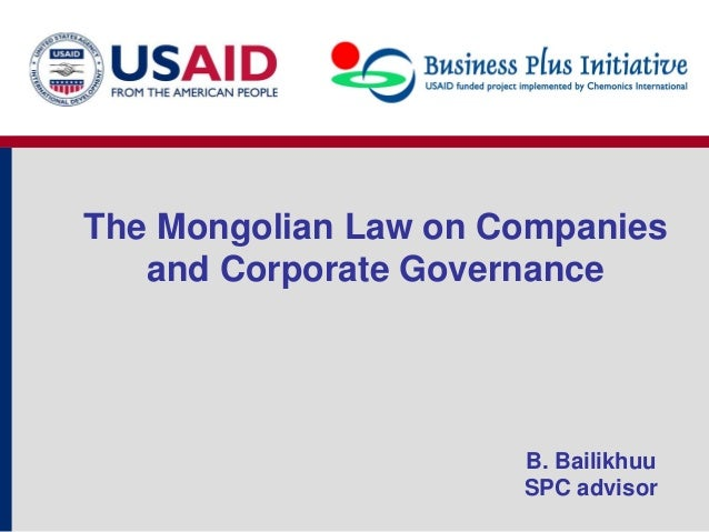 27.04.2012 The mongolian Law on companies and corporate ...