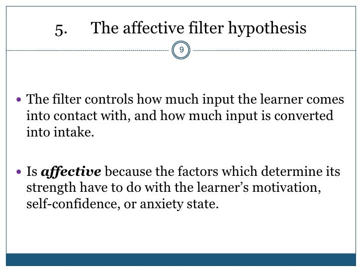 affective filter hypothesis Game-like activities to practice esl listening, speaking, reading & writing affective filter hypothesis lowering the affective filter with game-like.