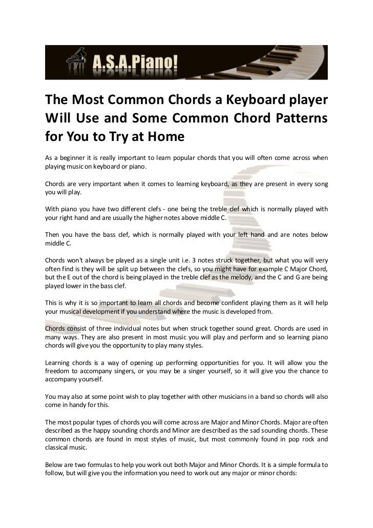 The Most Common Chords A Keyboard Player Will Use And Some Common Cho