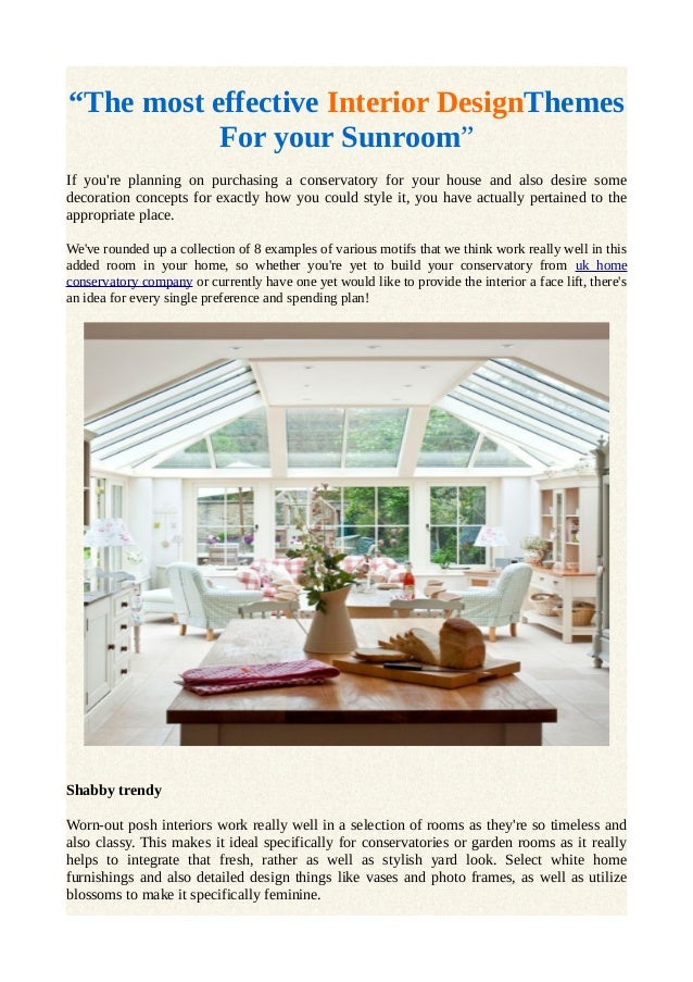 The most effective interior design themes for your sunroom