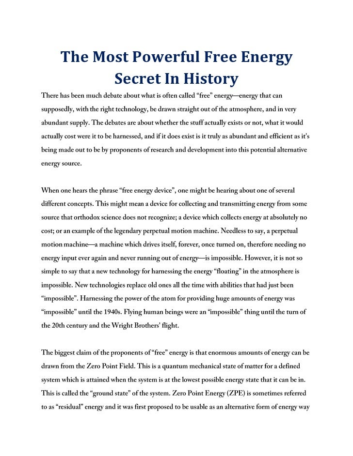 The Most Powerful Free Energy      Secret In History