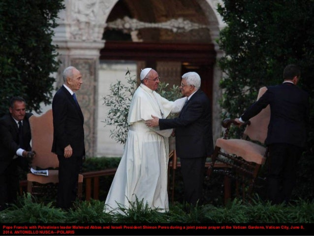 Pope Francis with Palestinian leader Mahmud Abbas and Israeli President Shimon Peres during a joint peace prayer at the Va...