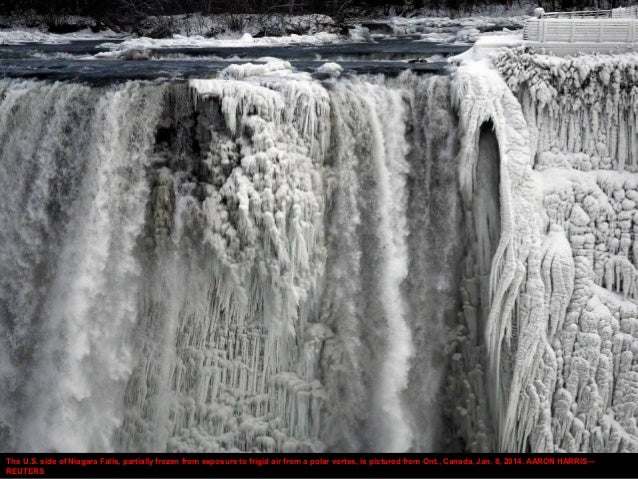 The U.S. side of Niagara Falls, partially frozen from exposure to frigid air from a polar vortex, is pictured from Ont., C...