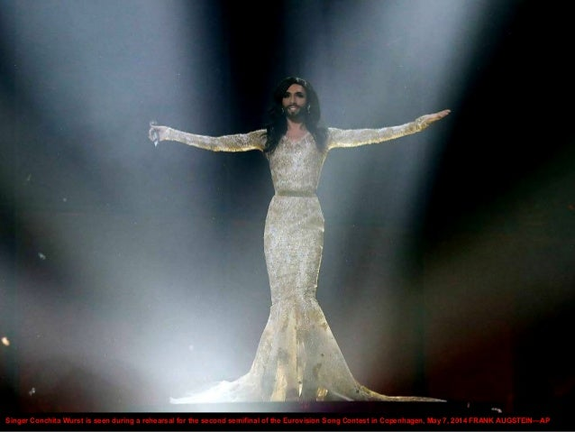 Singer Conchita Wurst is seen during a rehearsal for the second semifinal of the Eurovision Song Contest in Copenhagen, Ma...