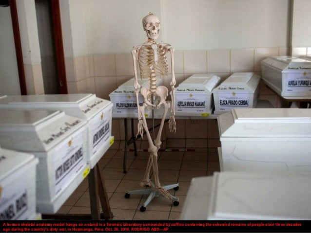 A human skeletal anatomy model hangs on a stand in a forensic laboratory surrounded by coffins containing the exhumed rema...