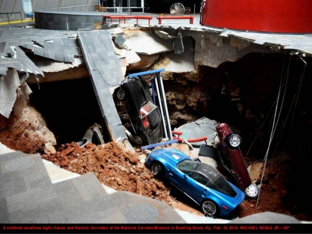 A sinkhole swallows eight classic and historic Corvettes at the National Corvette Museum in Bowling Green, Ky., Feb. 12, 2...