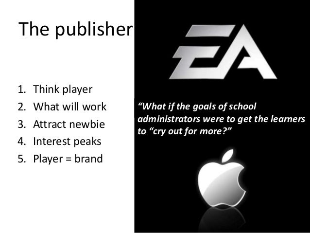 """1. Think player 2. What will work 3. Attract newbie 4. Interest peaks 5. Player = brand """"What if the goals of school admin..."""