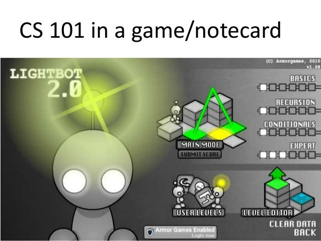 CS 101 in a game/notecard