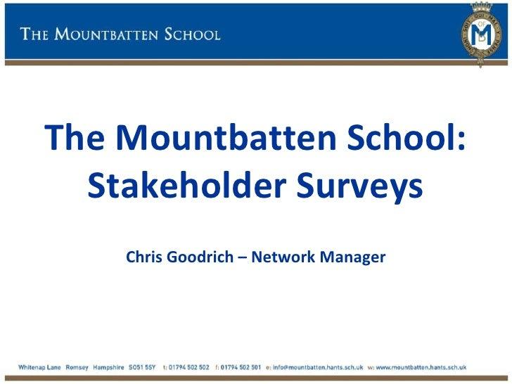 The Mountbatten School:  Stakeholder Surveys    Chris Goodrich – Network Manager
