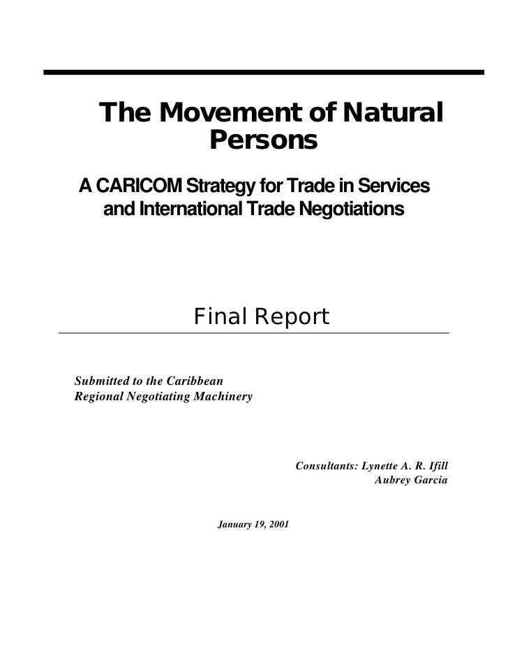 The Movement of Natural            Persons A CARICOM Strategy for Trade in Services    and International Trade Negotiation...