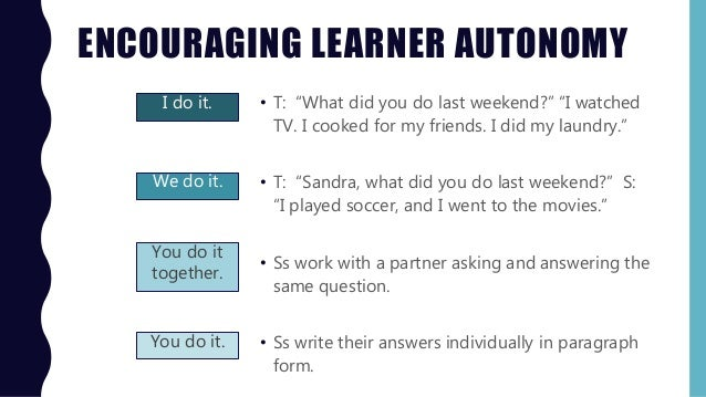 """ENCOURAGING LEARNER AUTONOMY • T: """"What did you do last weekend?"""" """"I watched TV. I cooked for my friends. I did my laundry..."""