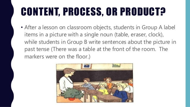 CONTENT, PROCESS, OR PRODUCT? • After a lesson on classroom objects, students in Group A label items in a picture with a s...