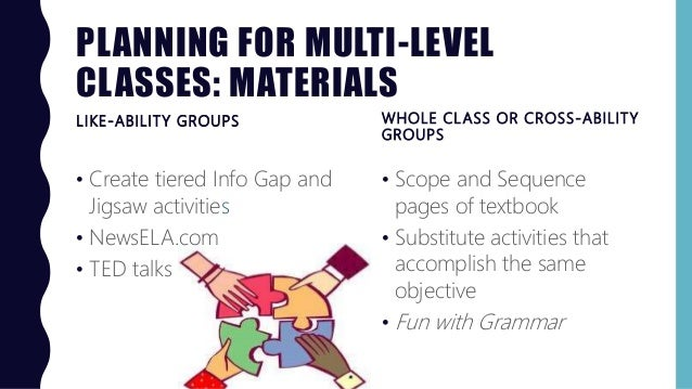 PLANNING FOR MULTI-LEVEL CLASSES: MATERIALS LIKE-ABILITY GROUPS • Scope and Sequence pages of textbook • Substitute activi...
