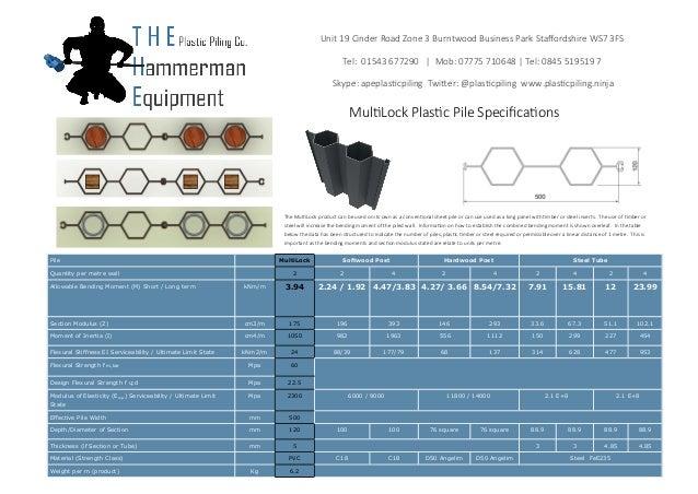 The Multilock Plastic Sheet Pile Specifications 2014