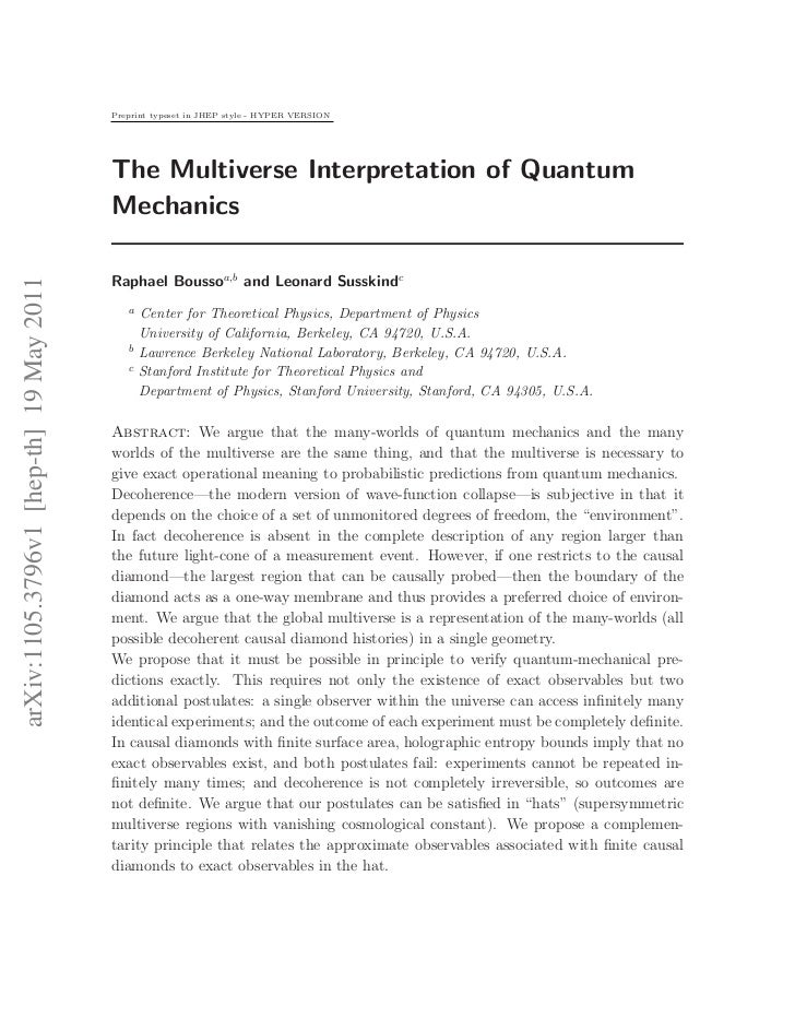 Preprint typeset in JHEP style - HYPER VERSION                                         The Multiverse Interpretation of Qu...