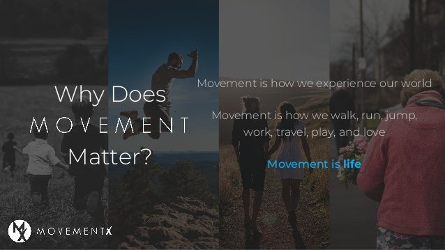 Why Does Matter? Movement is how we experience our world Movement is how we walk, run, jump, work, travel, play, and love ...