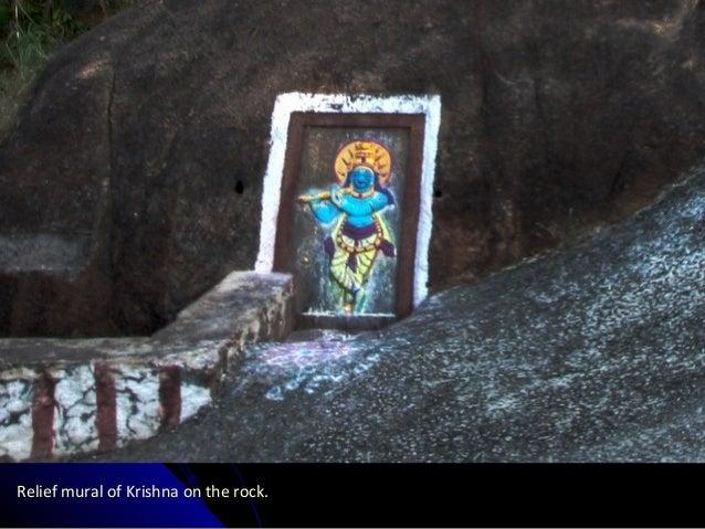 Relief mural of Krishna on the rock.