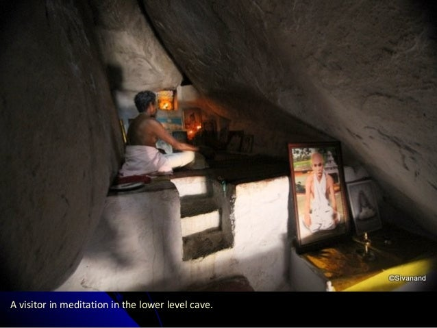 A visitor in meditation in the lower level cave.