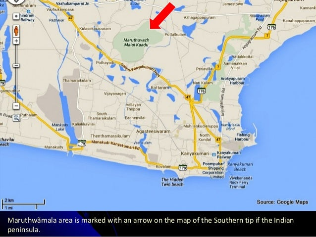Maruthwãmala area is marked with an arrow on the map of the Southern tip if the Indian peninsula.