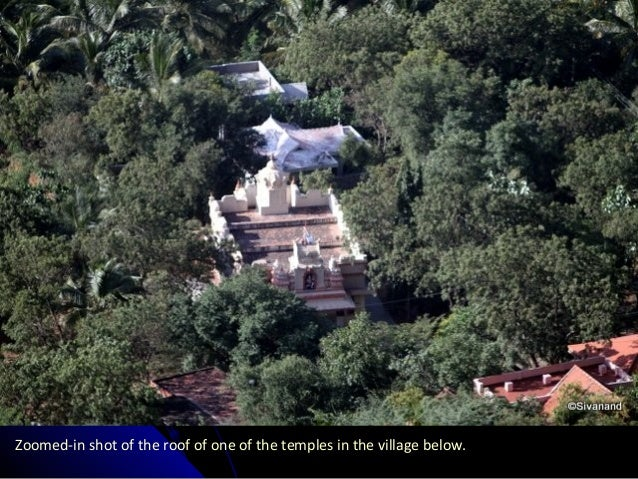 Zoomed-in shot of the roof of one of the temples in the village below.