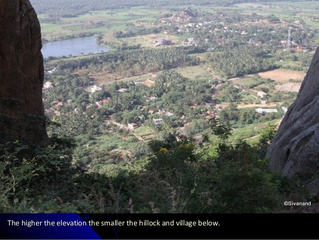 The higher the elevation the smaller the hillock and village below.