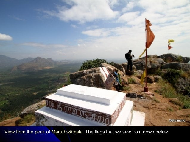 View from the peak of Maruthwãmala. The flags that we saw from down below.