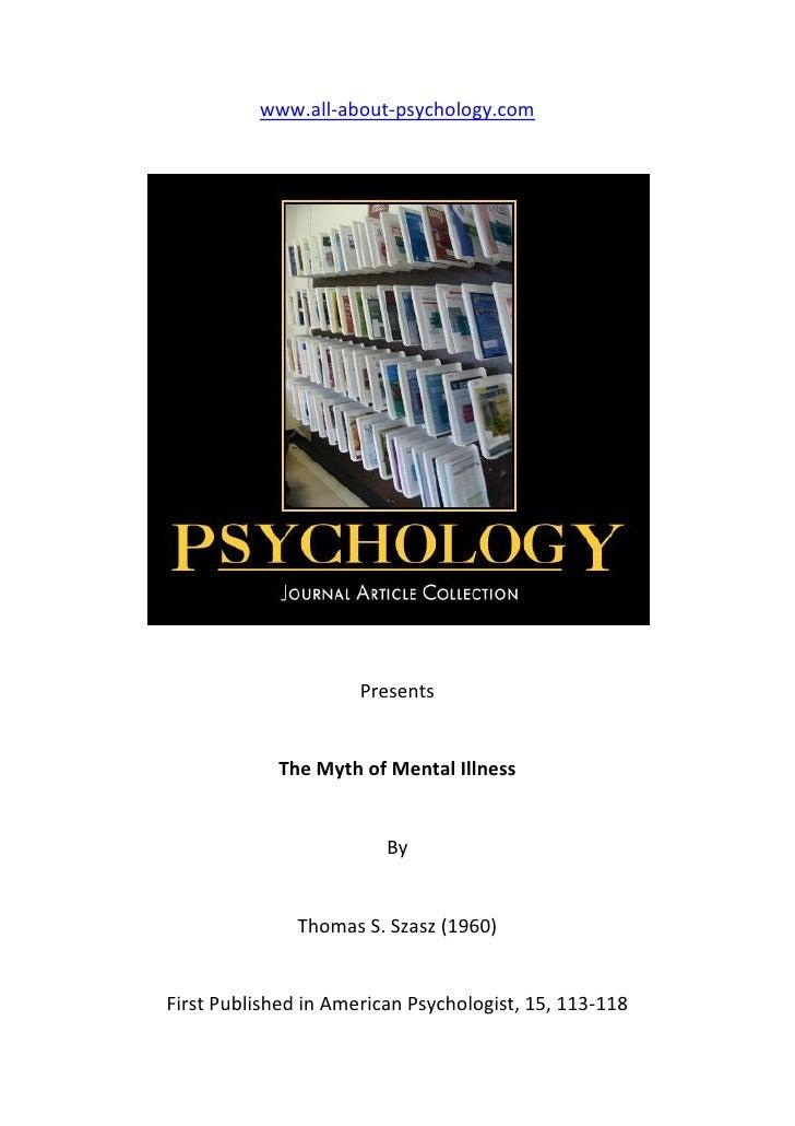 The myth of mental illness by thomas s szasz 1960