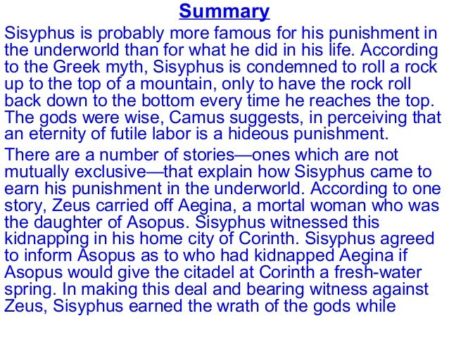 The Myth Of Sisyphus  Summary Sisyphus