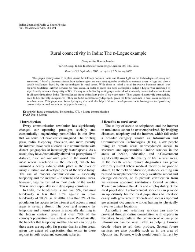 Indian Journal of Radio & Space Physics Vol. 36, June 2007, pp. 188-191  Rural connectivity in India: The n-Logue example ...